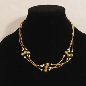 Triple strand Gold Necklace B&W
